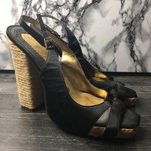 Zinc Black Peep Toe Heels